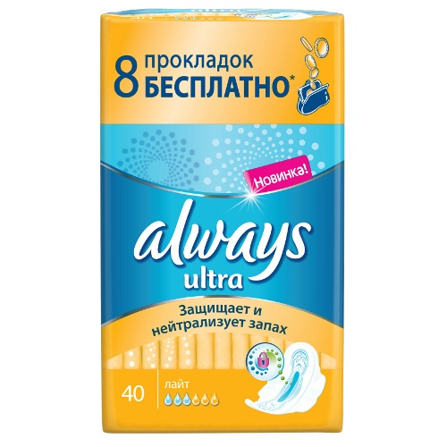 "Прокладки ""Always"" (Олвейс) Ultra Light 40шт Россия"