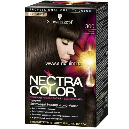 "Краска для волос ""Schwarzkopf"" (Шварцкопф) Nectra Color без аммиака 300 черно-каштановый"