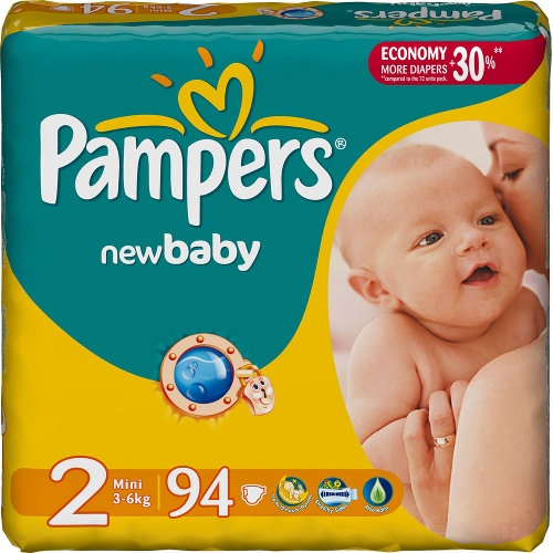 "Подгузники ""Pampers New Baby"" (Памперс Нью Бэби) Mini 3-6кг 94шт джамбо упаковка"
