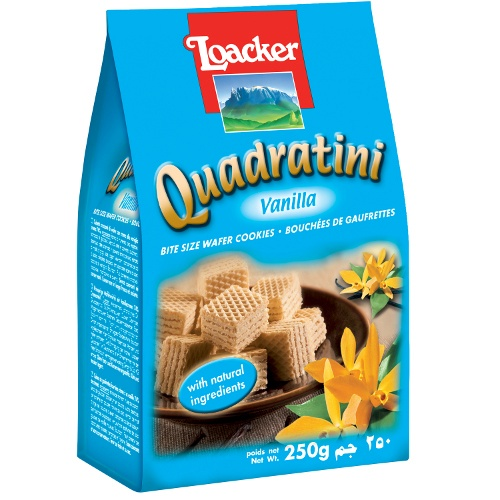 "Вафли ""Loacker Quadratini"" (Лоакер Квадратини) ваниль 250г"