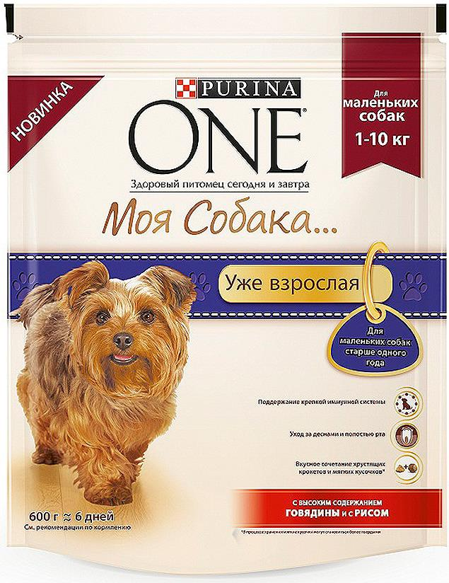 Корм Purina One Моя Cобака сухой для собак мелких пород с говядиной и рисом