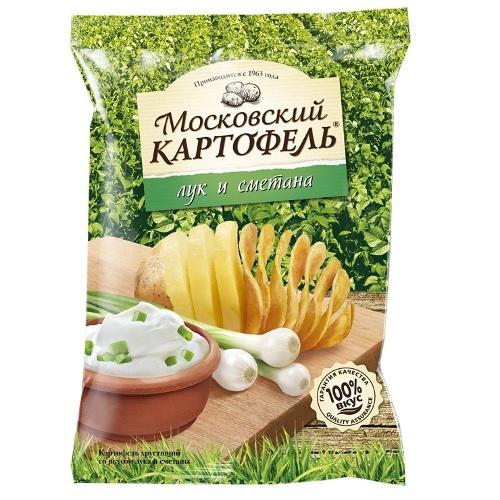 """Чипсы """"Московский картофель"""" лук и сметана 130г Россия"""